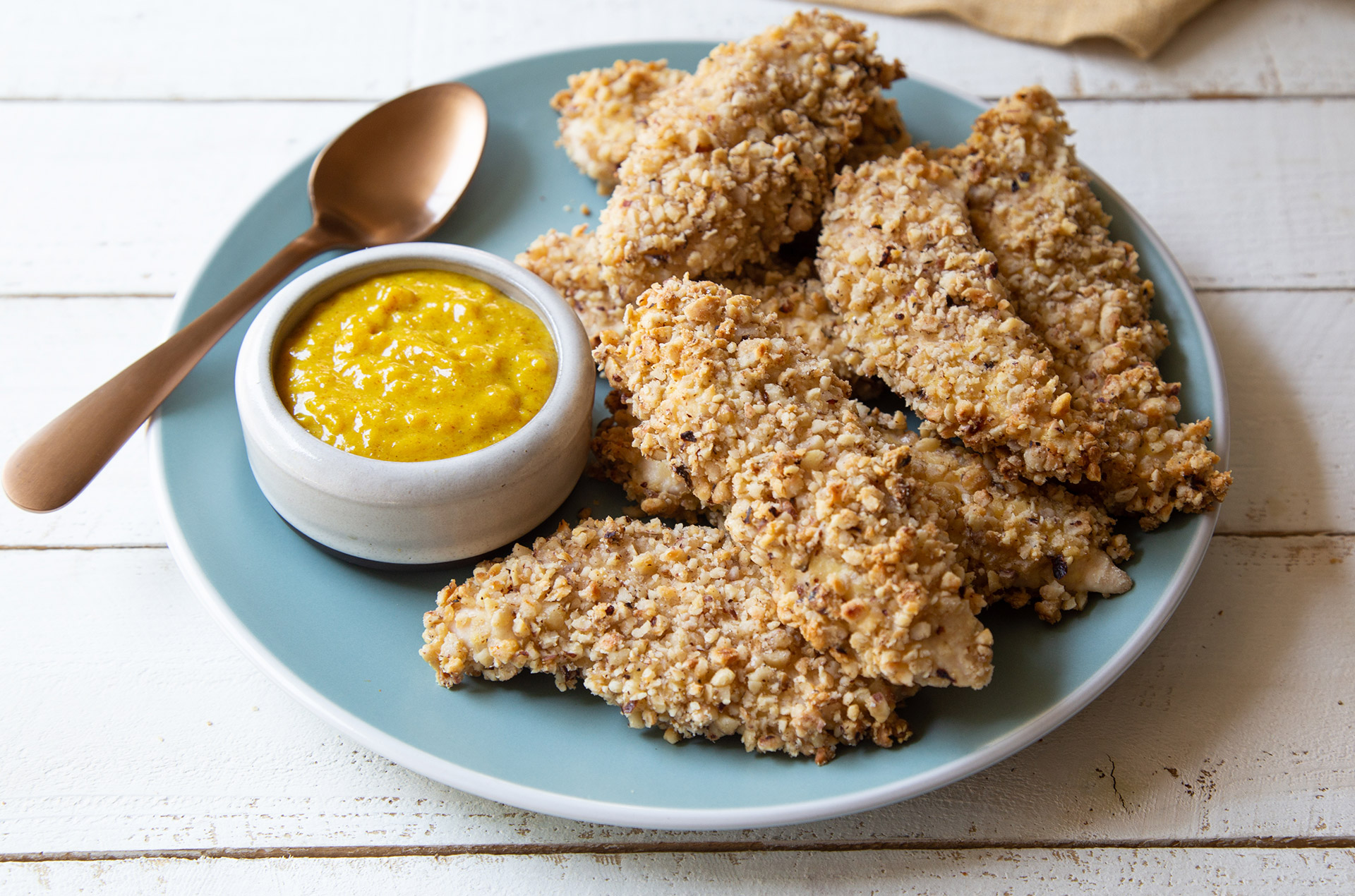 Hazelnut Crusted Chicken Tenders With Apricot Honey Mustard